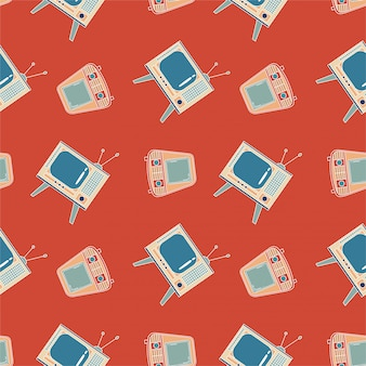 Seamless pattern with tv. old and retro television set. red background. geometrical line.