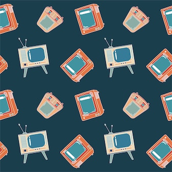 Seamless pattern with tv