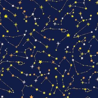 파란색 배경에 12개의 별자리 황도대 추상 손으로 그린 스타와 함께 완벽 한 패턴