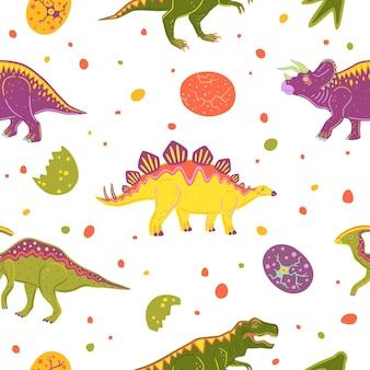 ティラノサウルス、トリケラトプス、パラサウロロフス、ステゴサウルスとのシームレスなパターン。カラフルなベクトル恐竜と恐竜の卵
