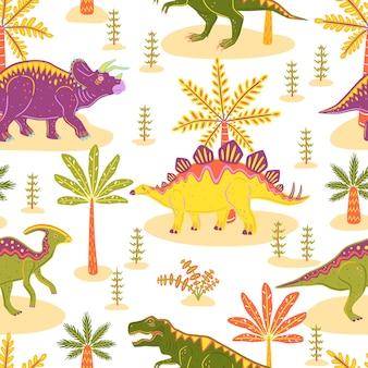 ティラノサウルス、トリケラトプス、パラサウロロフス、ステゴサウルスとのシームレスなパターン。カラフルなベクトル恐竜と手のひら