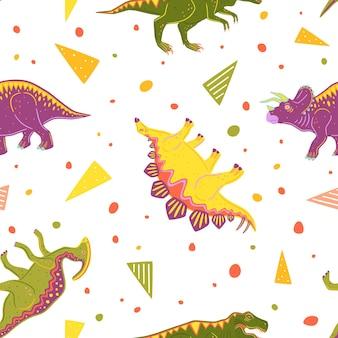 ティラノサウルス、トリケラトプス、パラサウロロフス、ステゴサウルスとのシームレスなパターン。カラフルなベクトル恐竜