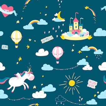 Seamless pattern with unicorn and castle