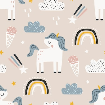 Seamless pattern with a unicorn on a colored background vector illustration for printing on fabric