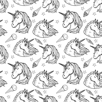 Seamless pattern with unicorn heads and ice cream.  illustration