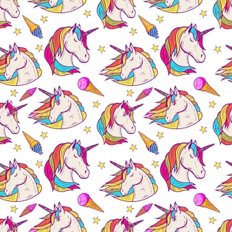 Seamless pattern with unicorn heads, stars, ice cream.  illustration