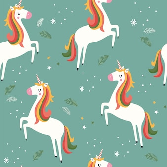 Seamless pattern with unicorn in kawaii style
