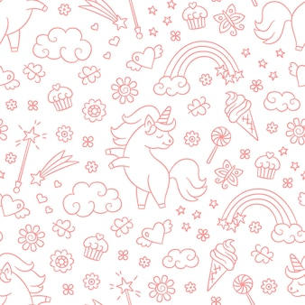 Seamless pattern with unicorn, rainbow, shooting star and magic wand in doodle style.