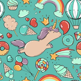 Seamless pattern with unicorn and sweets