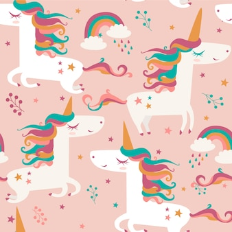 Seamless pattern with unicorns, clouds and rainbow.