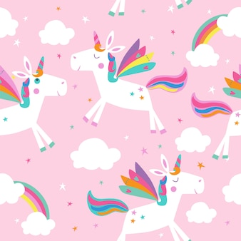 Seamless pattern with unicorns, clouds and rainbows.
