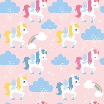 Seamless pattern with unicorns and clouds