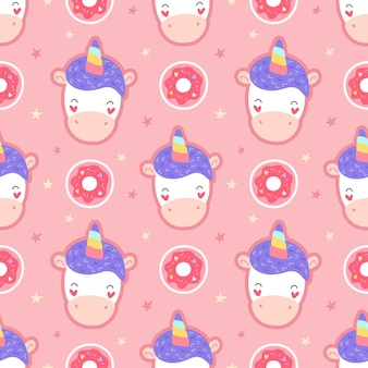 Seamless pattern with unicorns, donuts. cartoon print on textiles, packaging, fabric, wallpaper.