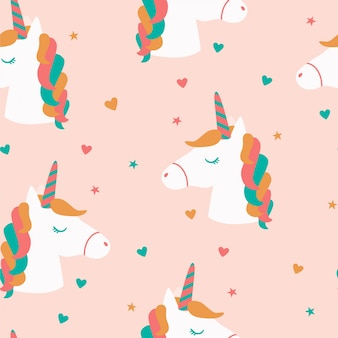 Seamless pattern  with unicorns heads and stars.