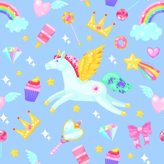 Seamless pattern with unicorns, hearts, dresses, candies, clouds, rainbows and other elements on blue.