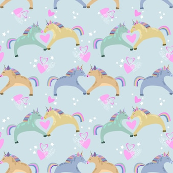 Seamless pattern with unicorns, hearts and stars.