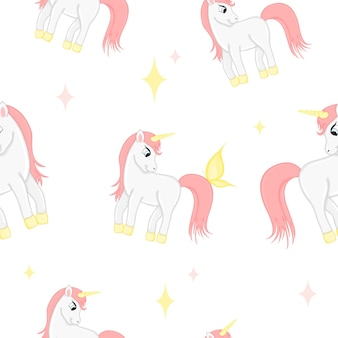 Seamless pattern with unicorns and hearts on a white background. cartoon style.
