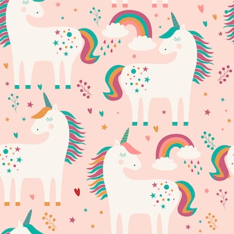 Seamless pattern with unicorns and rainbow.
