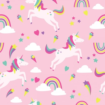 Seamless pattern with unicorns, rainbows, clouds and stars on pink.