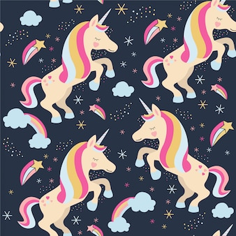 Seamless pattern with unicorns, rainbows, stars.