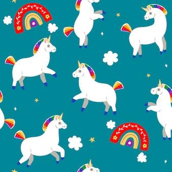 Seamless pattern with unicorns and rainbows