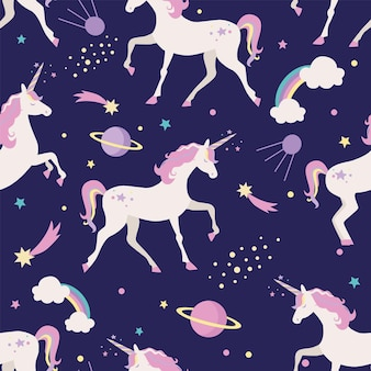 Seamless pattern with unicorns, sky. planets and rainbow.