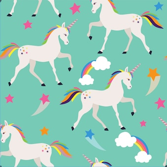 Seamless pattern with unicorns, stars and clouds.
