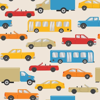 Seamless pattern with urban transport
