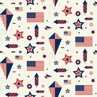 Seamless pattern with us flag, kite and firework. texture with american symbols in flat style.