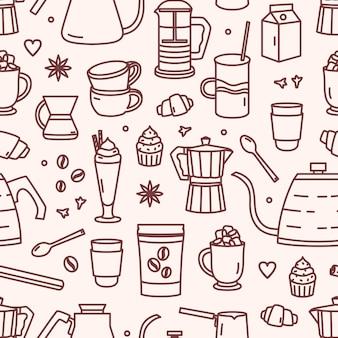 Бесшовный фон с посудой для заваривания кофе и сладких десертов с контурными линиями на светлом фоне. иллюстрация в линейном стиле для оберточной бумаги, текстильной печати, обоев.
