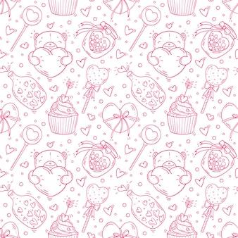 낙서 스타일에서 발렌타인과 사랑 흑백 개체와 완벽 한 패턴입니다.