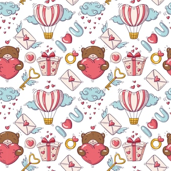 Seamless pattern with valentines day illustration