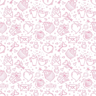 Seamless pattern with valentines day and love monochrome objects in doodle style.