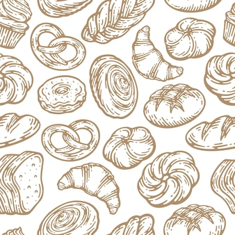 Seamless pattern with a variety of bakery products in doodle vintage design