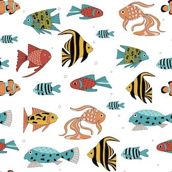 Бесшовный фон с различными абстрактными рыбами