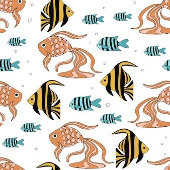 Бесшовный фон с различными абстрактными морскими рыбами