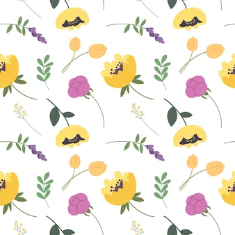 Seamless pattern with various blooming flowers and leaves botanical elements vector pattern