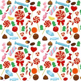 Бесшовный фон с различными конфетами. рождественские сладости. мультяшный стиль.