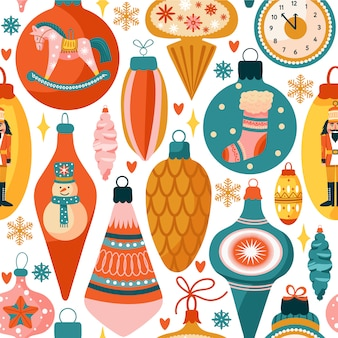 Seamless pattern with various christmas decorations.
