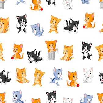 Seamless pattern with various cute cats