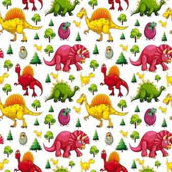 白い背景の上の様々なかわいい恐竜と自然要素とのシームレスなパターン