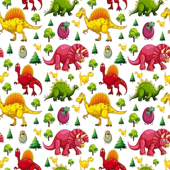 Seamless pattern with various cute dinosaurs and nature element on white background