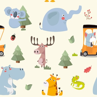 Seamless pattern with various cute and funny cartoon zoo animals.