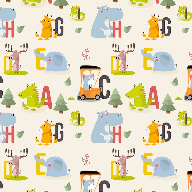 Seamless pattern with various cute and funny cartoon zoo animals