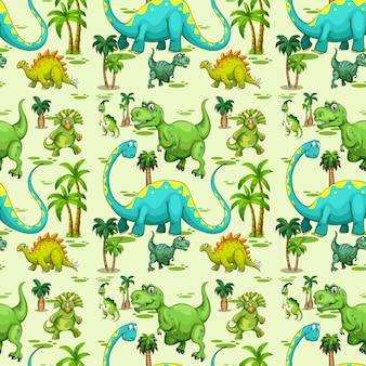 緑の背景にさまざまな恐竜と木とのシームレスなパターン