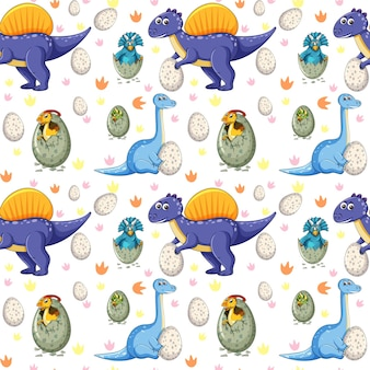 Seamless pattern with various dinosaurs and dino eggs on white background