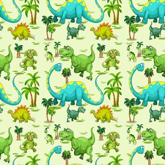 Seamless pattern with various dinosaurs and tree on green background