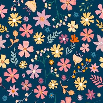Бесшовные с различными цветами и растениями, пастельных тонах
