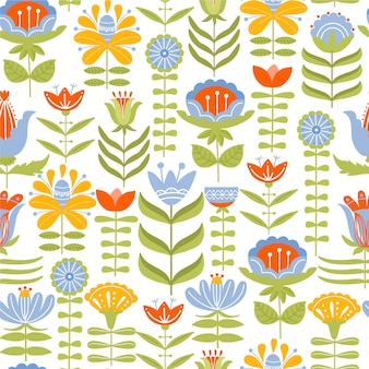 Seamless pattern with various flowers and leaves. folk motif.
