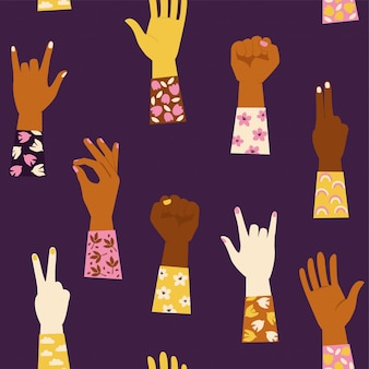Seamless pattern with various hands gestures background.
